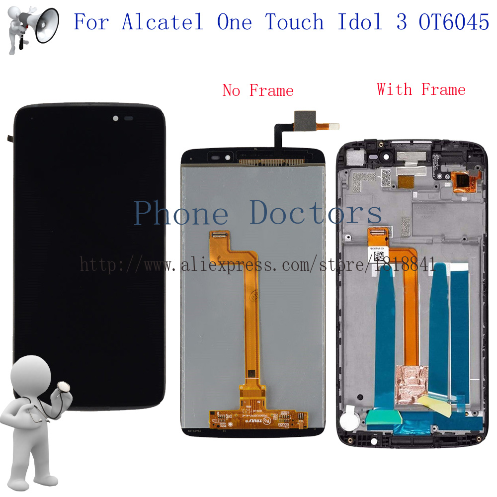 5.5 Full LCD display + Touch screen digitizer assembly with Frame For Alcatel One Touch Idol 3 OT6045 6045 6045Y 6045F 6045K