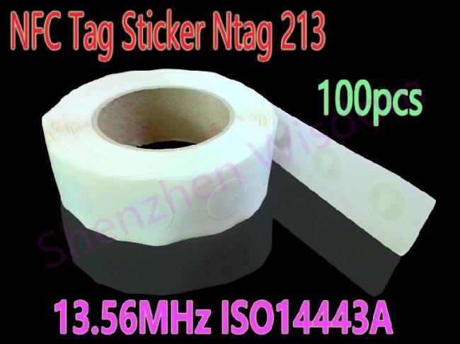 bilder für 100 stücke Ntag213 NFC Tags 13,56 MHz ISO14443A NFC Aufkleber Ntag 213 Alle NFC Telefon Verfügbar RFID NFC-tag Aufkleber Etiketten
