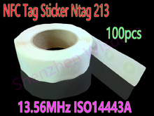 100 шт. Ntag213 NFC Метки 13.56 МГц ISO14443A NFC Наклейка Ntag 213 NFC Телефона Доступны RFID nfc Наклеек самоклеящихся Этикеток