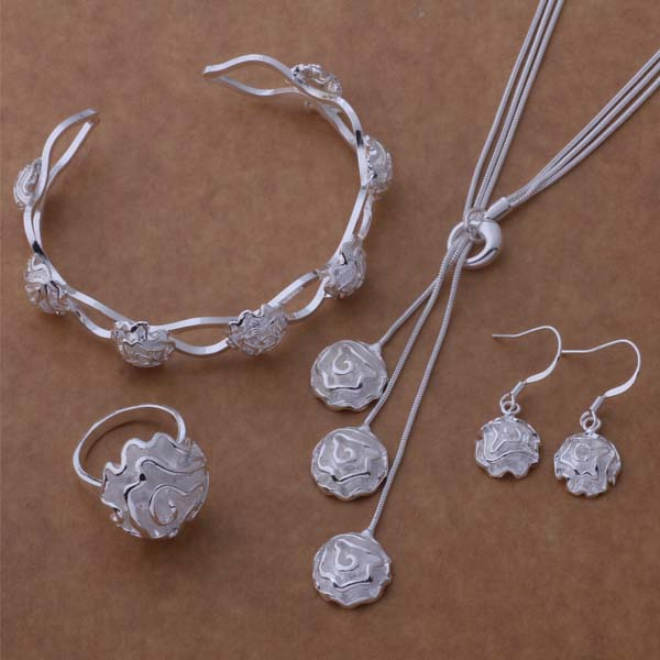 AS209 Hot sterling silver Set,  925 stamped Jewelry Sets Bangle 081 + Necklace 541 + Earring 288 + Ring 286 /dqxamiea bkrakbya