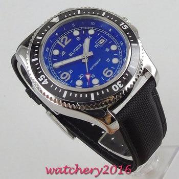 44mm Bliger Blue Dial Rotating Bezel Luminous marks Date Steel Case Luxury Brand Automatic Movement men's Watch