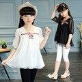 Muchachas de los cabritos del verano de corea de manga corta camisa de gasa blusa de encaje de cuello v clothing blanco negro