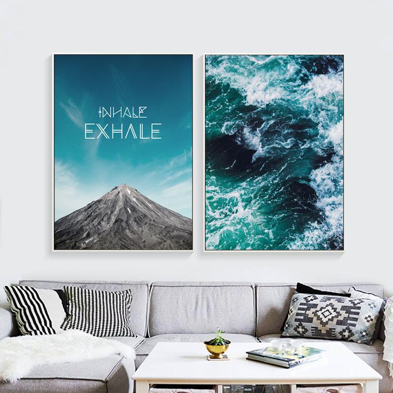 Nordic 5 panel canvas art blue sea cuadros decoracion canvas painting posters and prints dog - Poster decoracion ...