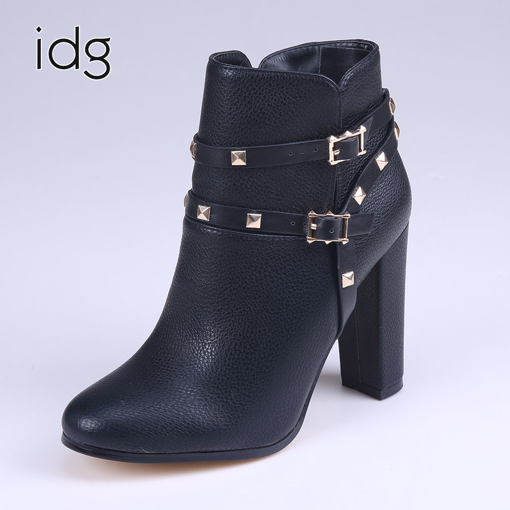 Idg Brand Women Slip-On High heels Short Rough with the fall and winter metal buckle rivets shoes woman zapatos mujer tacon big yards for women s shoes in the fall and winter of 2016 high thickening bottom anti slip with warm confined new fashion shoes