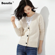 Banulin 2019 New Autumn Women Knitted V-Neck Long Sleeve Solid Cardigan Sweater Single Button Casual Warm Coat Outwear