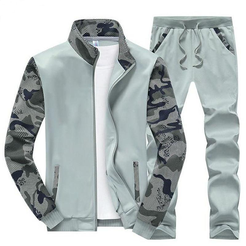 Frühling Männer Sportwear Sets Trainingsanzug Männlich Outwear Sweatshirts Patchwork Herren Hoodies Stehkragen Mann Trainingsanzug 4XL Großhandel