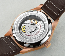 Switzerland Carnival Famous Brand Watches Rose Gold Case Blue Surface Brown Leather Strap Men Automatic Wrist Watch