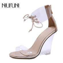 Woman Sandals 2019 Summer Fashion New Arrival Transparent Crystal Wedges Shoes For Women High Heels Strap