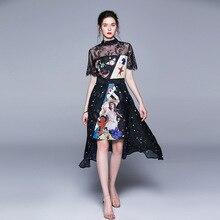Chic womens elegant Chiffon dress 2019 summer runways lace patchwork A296