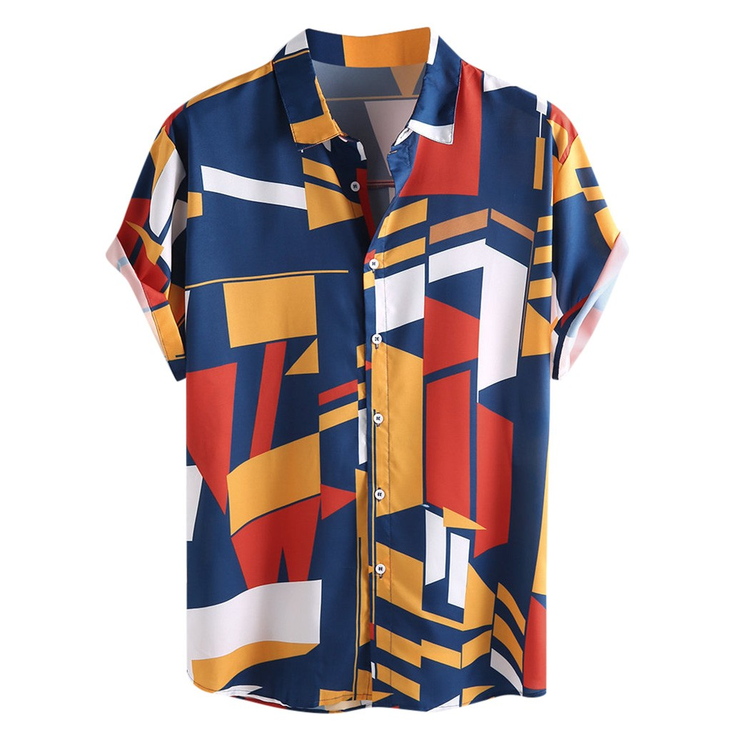 Mens Contrast Color Geometric Printed Turn Down Collar Short Sleeve Loose Shirts High Quality Casual  Travel