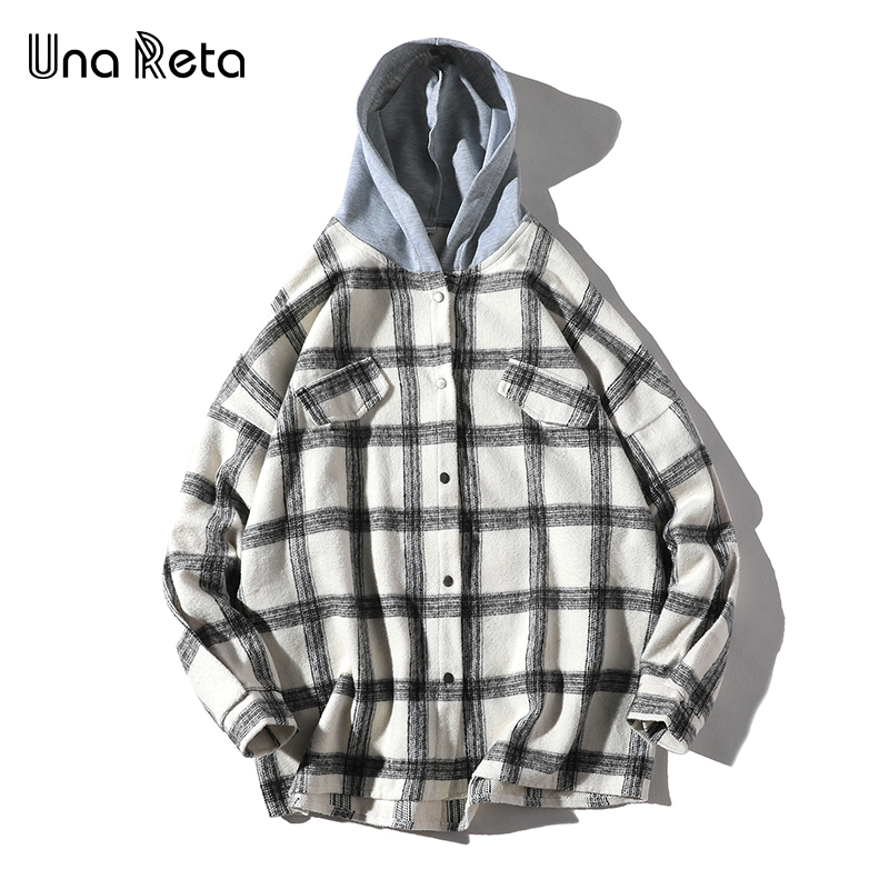 Una Reta Men Shirt With Hooded Autumn And Spring New Brand Hip-Hop Lattice Shirt Coat Men Streetwear Single Breasted Shirts