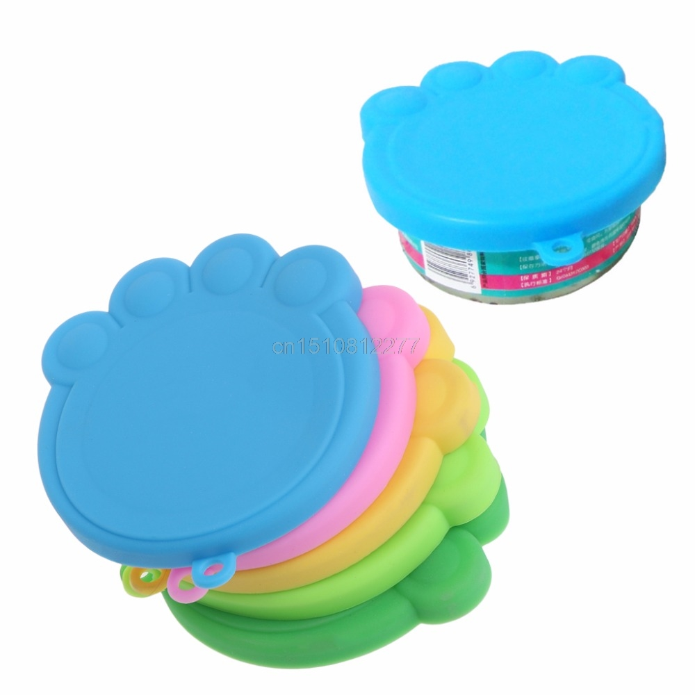 Pet Food Can Cover Silicone Dogs Cats Storage Tin Cap Lid Reusable Lovely Claws F27 dropshipping