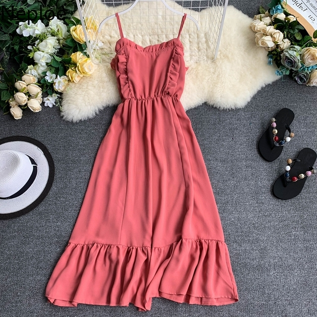 2019 Summer Solid Women Dress  3