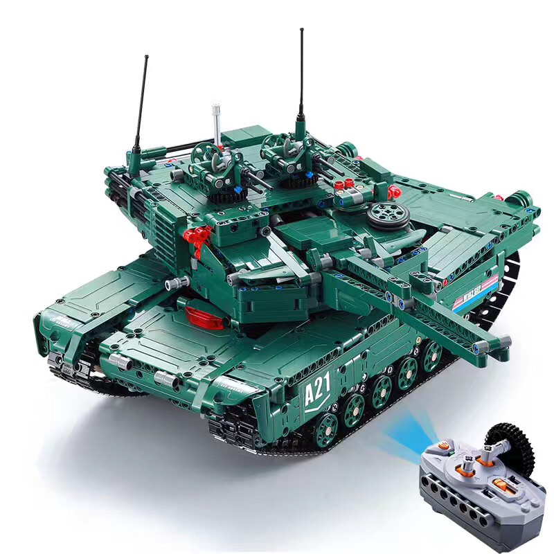 C61001 1498pcs M1A2 Technic Military Remote Control RC Tank Can Rotate Turret Launch Missile Building Block Brick Toy