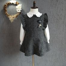 2016 осень и зима новый Корейский маленькие дети все матч вертикальная полоса Платье Без Рукавов Бесплатная Доставка