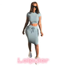 Women Summer Two Piece Set Hot Sale Solid Hole Sexy Crop Top and Skirt Set European Style Casual Midi Dress Suit D59-AB-11 sexy halter solid color crop top and slit skirt women s suit