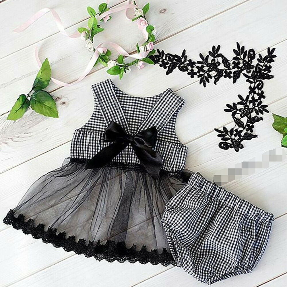 0980f8d8cf1c8 2PCS Cute Infant Baby Girl Plaid Clothes Sets Sleeveless Lace Bow Tutu Tops+Shorts  Pants