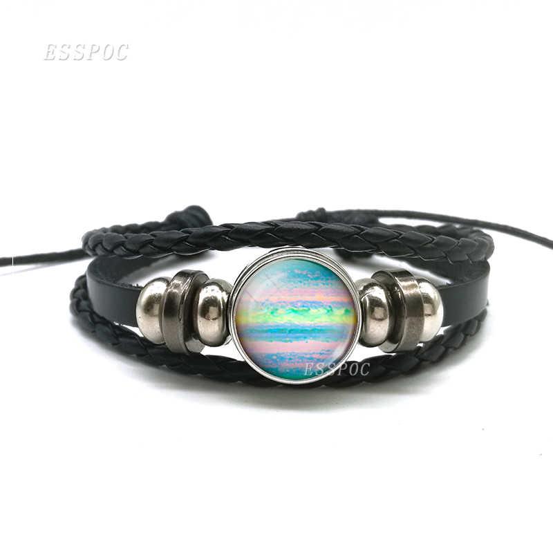 אופנה כוכב אביזרי ירח ירח שמש ירח DIY תכשיטי זכוכית כיפת כפתור שחור ארוג עור צמיד תליון יצירתי מתנה