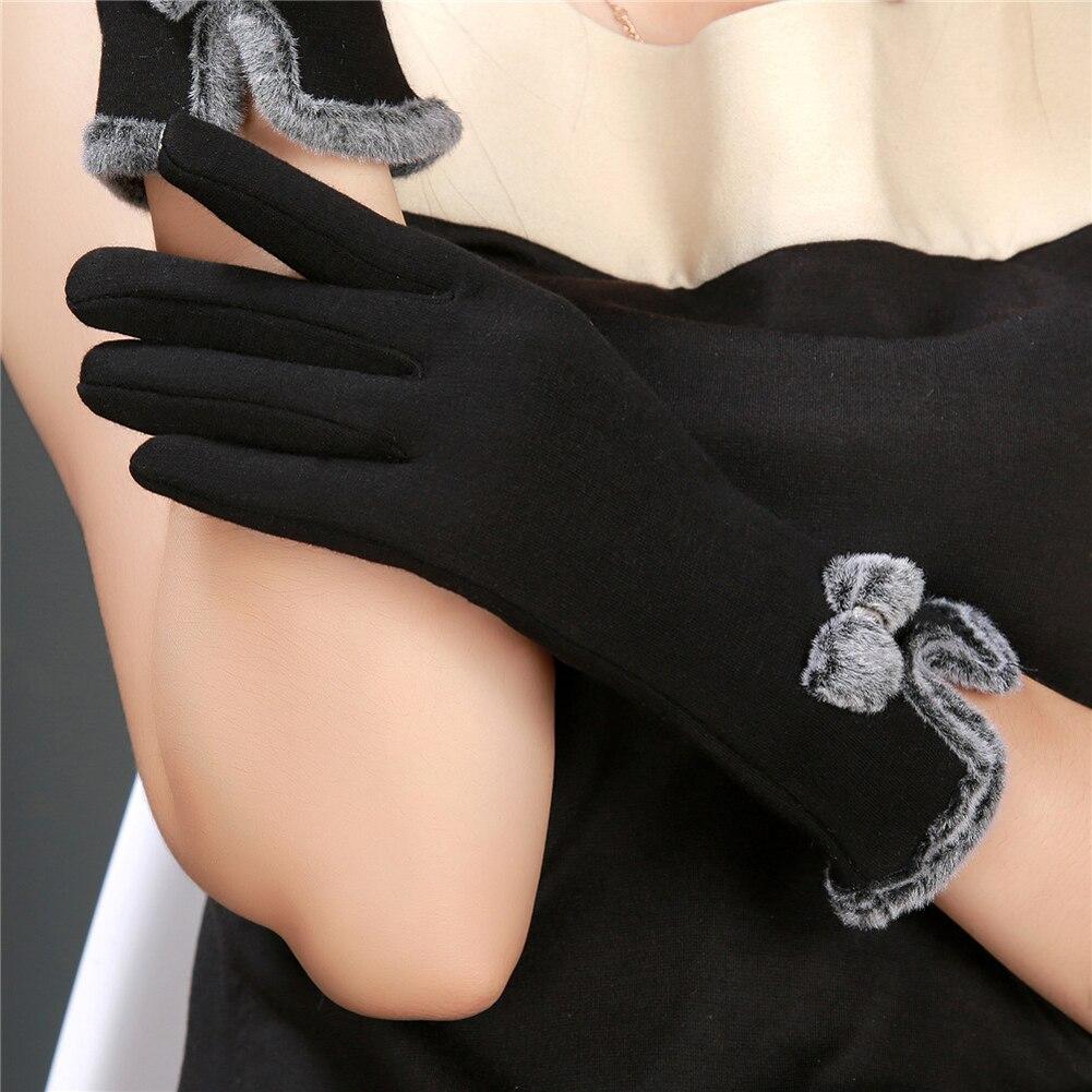 Cute Women Female Touch Screen Wrist Gloves Sheep Wool Warm Bowknot Winter Gloves Elegant Fashion Thicken Women eldiven guantes