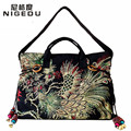 National style Double-sided Phoenix pattern embroidery women handbags canvas embroidered tassel women Shoulder bag Free shipping