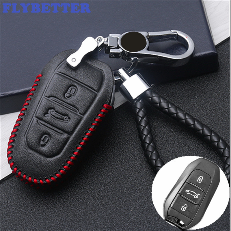 FLYBETTER Genuine Leather Smart Remote Key Case Cover For Peugeot 2008/308/3008/508/4008/408/308S/301/407 Car Styling (B) L1603