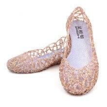 Mode sommer Womens Hohl Kristallschuhe Gelee Sandalen silber gold damen beiläufige Flache Schuhe für frauen boote schuhe größe 7,5