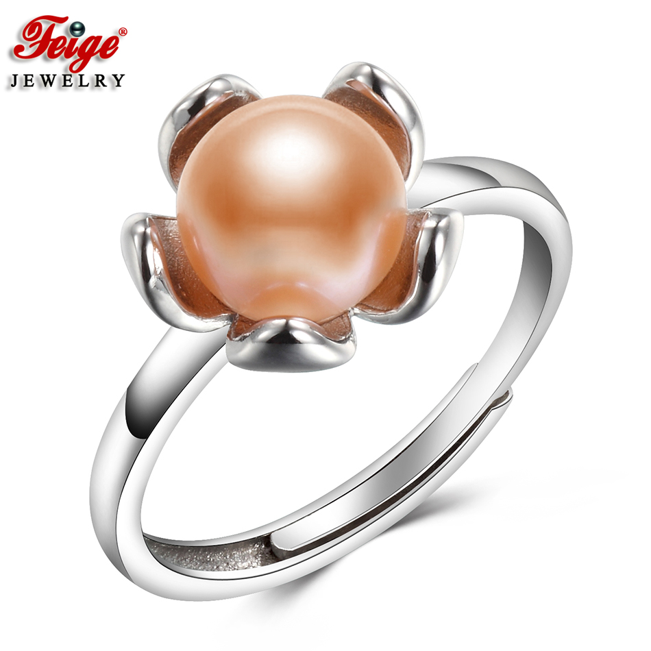 Fashionable Flower Pure Pink Pearl Ring For Girl Anniversary Jewellery Reward 7-8Mm Freshwater Pearl Ring High quality Jewellery Wholesale Feige