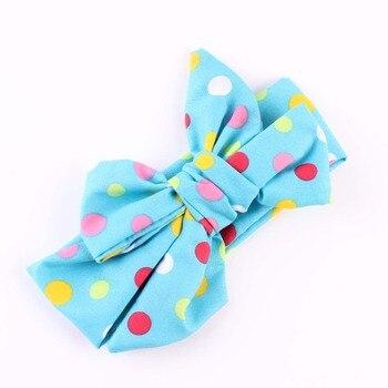 Wholesale girl Big Bow Headwrap Topknot Headband Polka Dot Headwrap NON-Stretch Cotton HeadWrap Hair Accessories 200pcs фото
