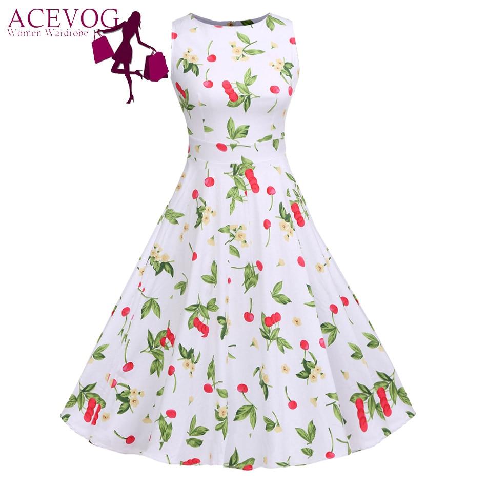 0252a621b ACEVOG Vintage Swing Vestido Mujer 1950 s 60 s Retro Garden Party Picnic  Vestidos cóctel túnica Rockabilly Vestidos vestido Plus tamaño