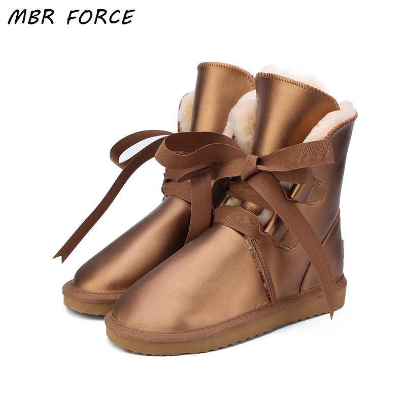 MBR FORCE Australia High Quality Women Snow Boots Genuine Leather waterproof Boots Fur Winter Boots Warm Thick Women UG Boots goncale high quality band snow boots women fashion genuine leather women s winter boot with black red brown ug womens boots