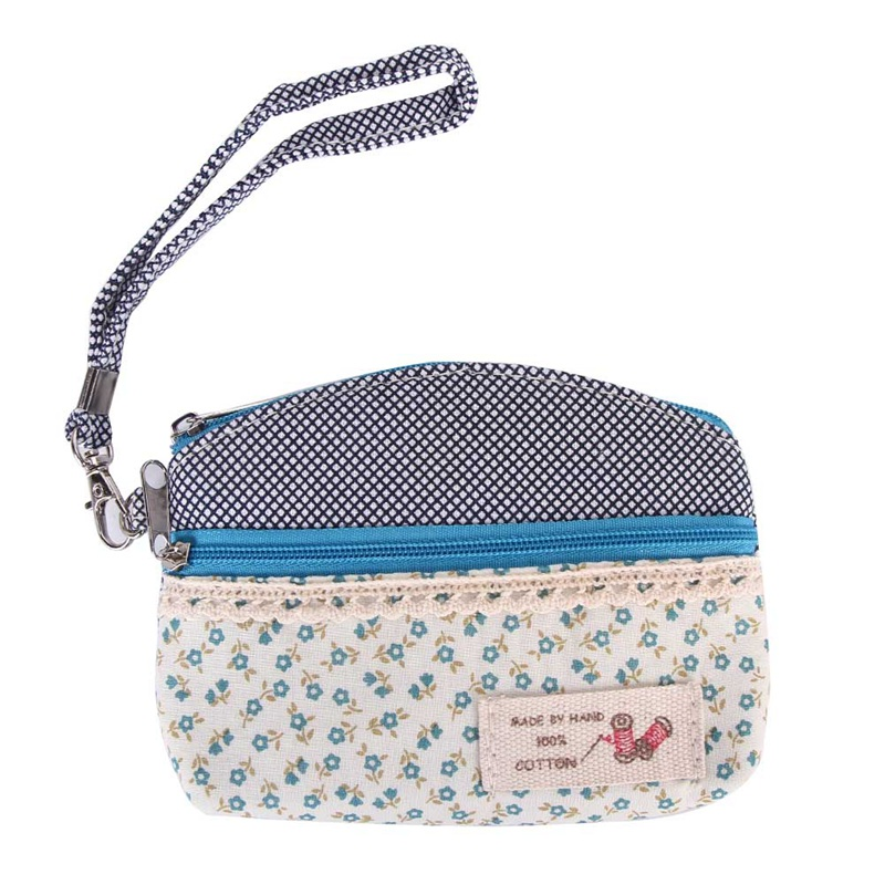 Dobule Zipper Women Clutch Coin Purse Key Card Bag Canvas Floral Kids Children Mini Wallet Girls Coin Pouch