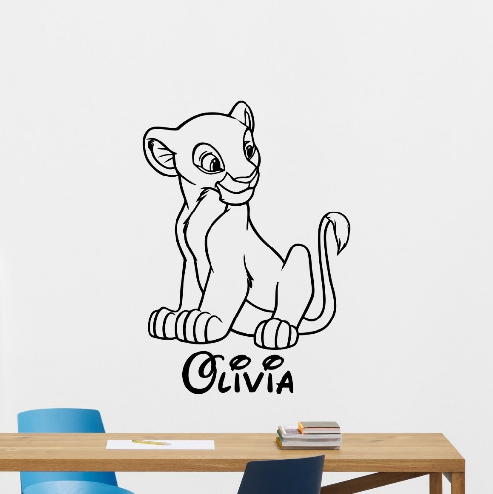 Nala Custom Name Decal Wall Sticker Lion King Wall Art Home Decor Kids  Childrens Girls Room