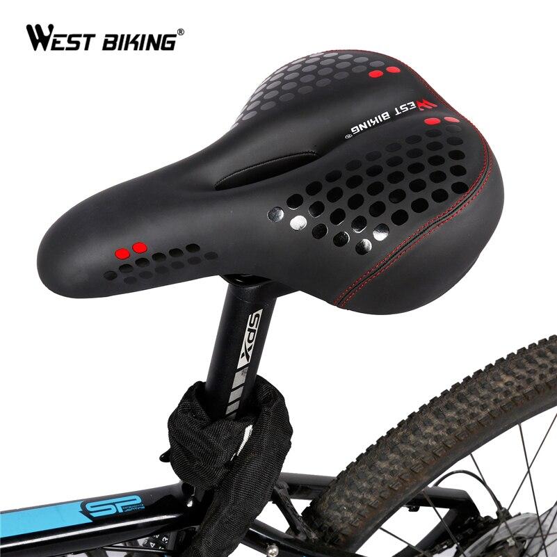 WEST BIKING Wide Bicycle Mat Cycling Saddle Comfortable <font><b>Seat</b></font> Mat MTB Bike Cushion With Warning Taillight Ride Bicycle Saddle