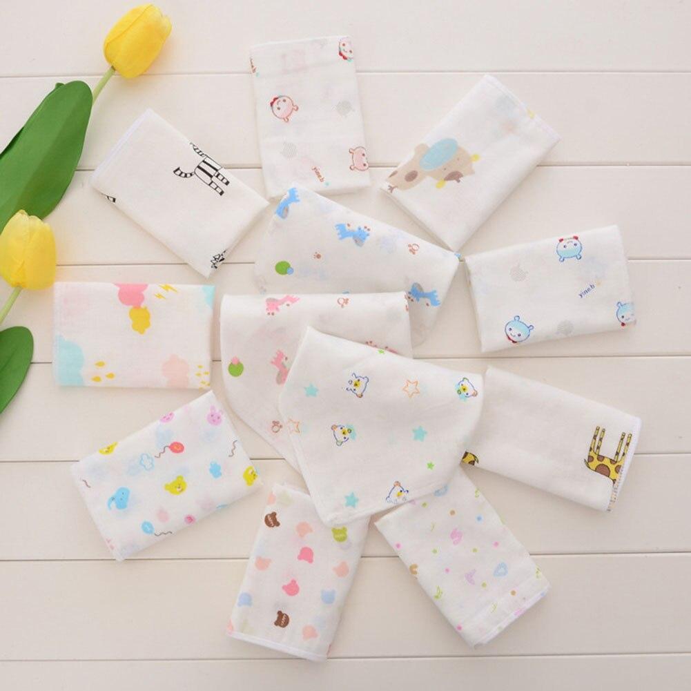 100% Cotton Gauze Newborn Baby Infant Cartoon Face Hand Bathing Towel Bibs 25*25 Feeding Square Towels Handkerchief random