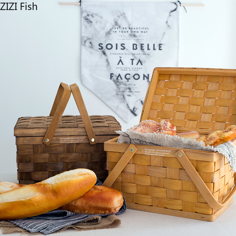 France Style Picnic Basket Bread Baskets Hiking Storage Box Cake Table Decorating Tools Food Photography Fruit Hand