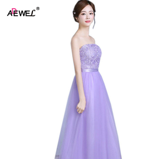 050114feb35 ADEWEL Cute Light Purple Women Summer Lace Wedding Party Bridesmaid Wear  Dresses Tradictional Maxi Long Formal
