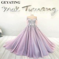 2019 Lavender 3D Flower Quinceanera Dresses 15 years Ball Gown Tulle Sweet 16 Fairy Gowns Puffy Off Shoulder Vestidos de 15 anos
