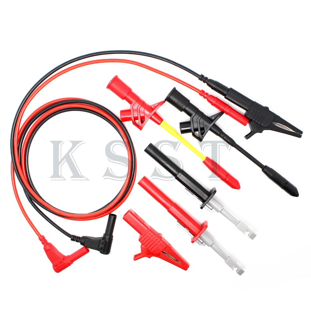 DMM04A Automotive Test Probe Kit test hook clip test probe crocodile clip test leads 1 pairs professional rigid shaft clamp type test probe hook with 4mm socket insulation piercing clip catiii 1000vac 10a max