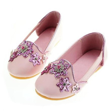 New Children Leather Shoes Baby Princess Pink Blue Rhinestone Flower Girls  Shoes Toddler Dance Party Dress c27cfd72ba62