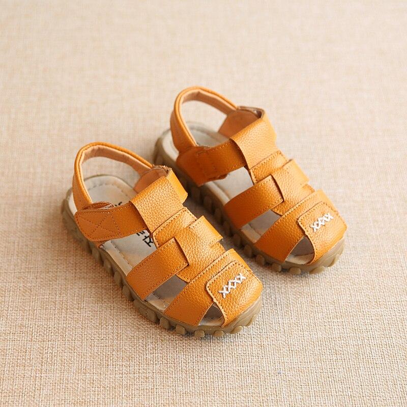 cb42c1a58378d Garçons Sandales Enfants Chaussures 2017 En Cuir Souple Sandales Bébé  Garçons D été Prewalker Semelle Souple PU En Cuir Plage Sandales Taille  21-30 de la ...