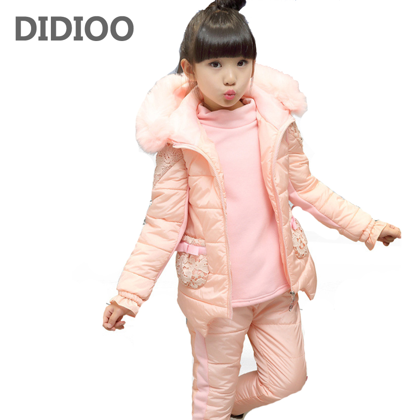 Girls Winter Clothing Sets Children Thick Hooded Vest & Shirt & Pants Suits Kids Warm Clothes Sets 6 8 10 12 Years Girls Outfits