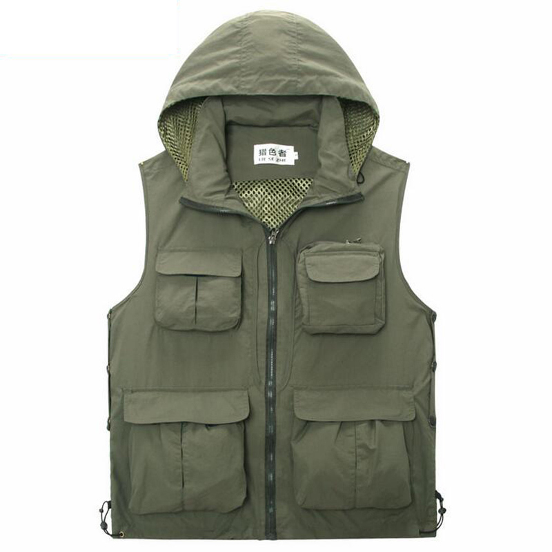 Outdoor fishing vest with cap quick drying multi pocket for Outdoor fishing