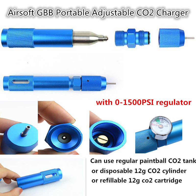 ActionUnion 12g CO2 Cartridge Adapter Cylinder Refill Gas Chargers W/1500 PSI Integrated Quick Charging Tactical Shooting Hunt