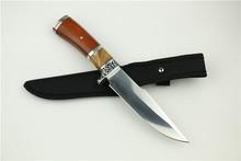 Relucir 3Cr13Mov del cuchillo de caza recto resina + mango de madera cuchillo de caza táctico fijo cuchillo de rescate herramientas 1219#