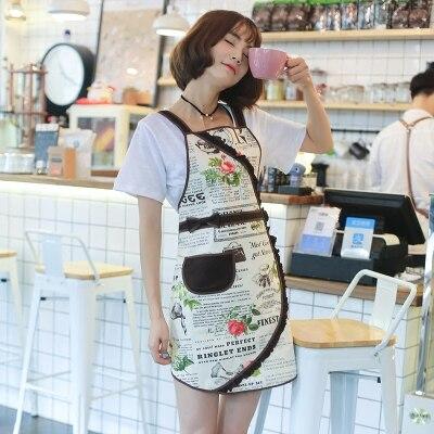 Original Korean version apron lovely princess apron kitchen work clothes oil proof coffee shop apron smock