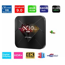 Boîtier TV intelligent NWD X10 Plus Android 9.0 6K Quad Core 4GB RAM 32 GB/64 GB ROM USB3.0 WIFI H.265 HDR IPTV décodeur 4 lecteur multimédia(China)