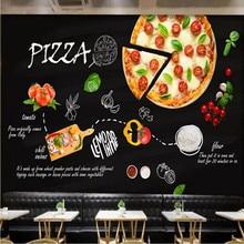 Custom wallpaper mural black hand-painted Italian pizza shop Western restaurant background wall - high-grade covering
