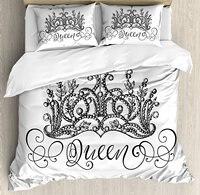 Queen постельное белье рисованной корона с queen надписи барокко Стиль древние элементы каллиграфии Декор 4 шт. Постельное белье