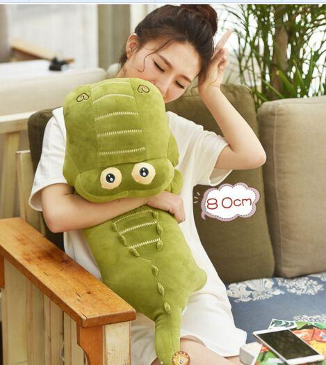 Mignon peluche crocodile jouet doux vert crocodile poupée cadeau environ 80 cm