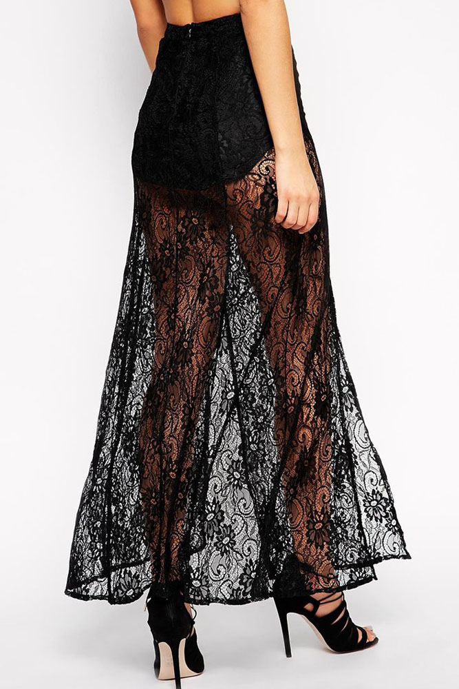 af1116c18e Black Floral Lace Sheer Maxi Skirt 2017 Women Girls Lace Skirt Hollow Out A  Line White Black Solid SKirt cover beachwear-in Skirts from Women's  Clothing on ...